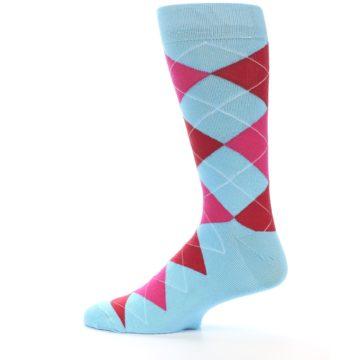 Image of Light Blue Red Pink Argyle Men's Dress Socks (side-2-12)