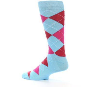 Image of Light Blue Red Pink Argyle Men's Dress Socks (side-2-13)