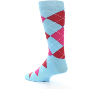 Image of Light Blue Red Pink Argyle Men's Dress Socks (side-2-back-14)