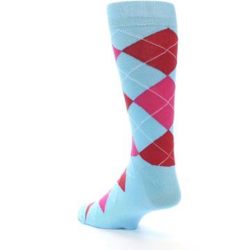 Image of Light Blue Red Pink Argyle Men's Dress Socks (side-2-back-15)