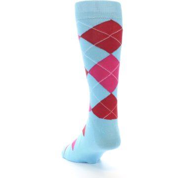 Image of Light Blue Red Pink Argyle Men's Dress Socks (side-2-back-16)