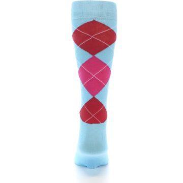 Image of Light Blue Red Pink Argyle Men's Dress Socks (back-18)