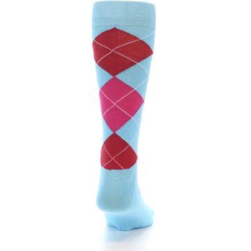 Image of Light Blue Red Pink Argyle Men's Dress Socks (back-19)