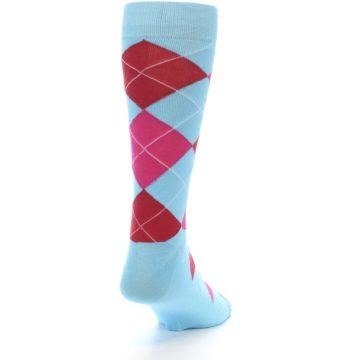 Image of Light Blue Red Pink Argyle Men's Dress Socks (side-1-back-20)