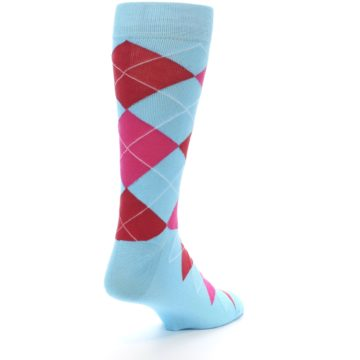 Image of Light Blue Red Pink Argyle Men's Dress Socks (side-1-back-21)