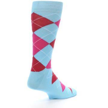 Image of Light Blue Red Pink Argyle Men's Dress Socks (side-1-back-22)