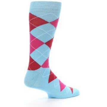 Image of Light Blue Red Pink Argyle Men's Dress Socks (side-1-23)