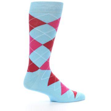 Image of Light Blue Red Pink Argyle Men's Dress Socks (side-1-24)