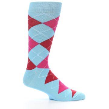 Image of Light Blue Red Pink Argyle Men's Dress Socks (side-1-25)