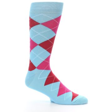 Image of Light Blue Red Pink Argyle Men's Dress Socks (side-1-26)