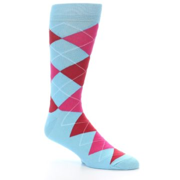 Image of Light Blue Red Pink Argyle Men's Dress Socks (side-1-27)
