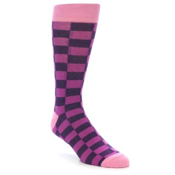 Image of Purple Checkered Men's Dress Socks (side-1-front-01)