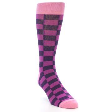 Image of Purple Checkered Men's Dress Socks (side-1-front-02)