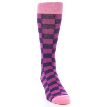 Image of Purple Checkered Men's Dress Socks (side-1-front-03)