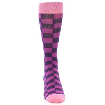 Image of Purple Checkered Men's Dress Socks (front-04)