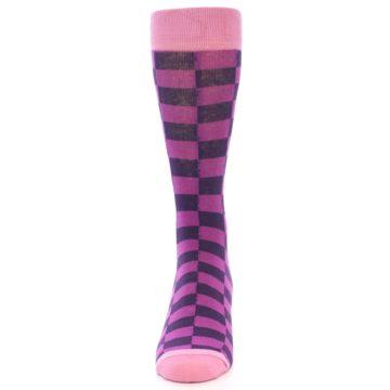 Image of Purple Checkered Men's Dress Socks (front-05)