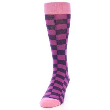 Image of Purple Checkered Men's Dress Socks (side-2-front-06)