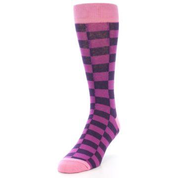 Image of Purple Checkered Men's Dress Socks (side-2-front-07)