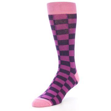 Image of Purple Checkered Men's Dress Socks (side-2-front-08)