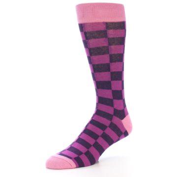 Image of Purple Checkered Men's Dress Socks (side-2-09)