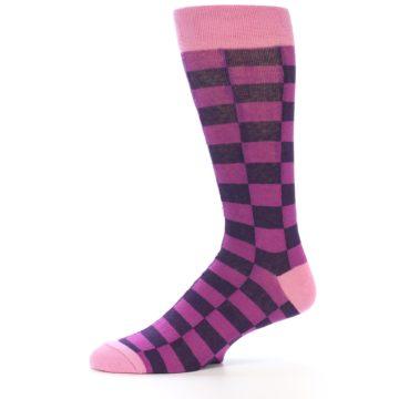 Image of Purple Checkered Men's Dress Socks (side-2-11)