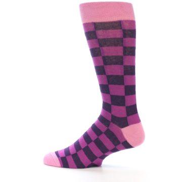 Image of Purple Checkered Men's Dress Socks (side-2-12)