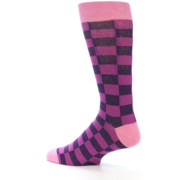 Image of Purple Checkered Men's Dress Socks (side-2-13)