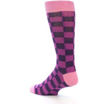 Image of Purple Checkered Men's Dress Socks (side-2-back-14)