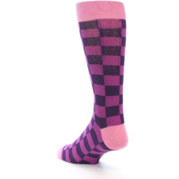 Image of Purple Checkered Men's Dress Socks (side-2-back-15)