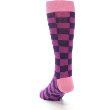 Image of Purple Checkered Men's Dress Socks (side-2-back-16)