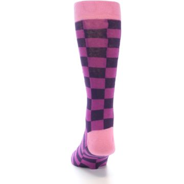Image of Purple Checkered Men's Dress Socks (back-17)