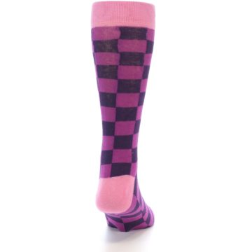 Image of Purple Checkered Men's Dress Socks (back-19)