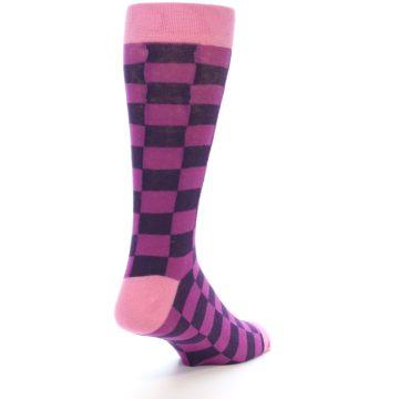 Image of Purple Checkered Men's Dress Socks (side-1-back-21)