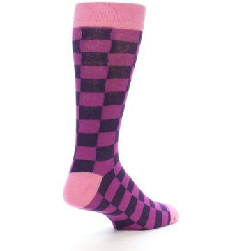 Image of Purple Checkered Men's Dress Socks (side-1-back-22)