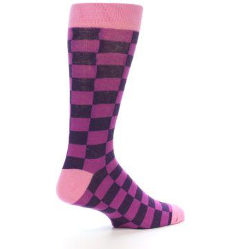 Image of Purple Checkered Men's Dress Socks (side-1-23)