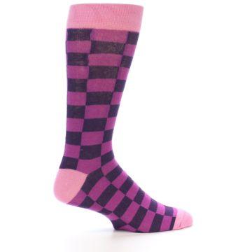 Image of Purple Checkered Men's Dress Socks (side-1-24)