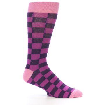 Image of Purple Checkered Men's Dress Socks (side-1-25)