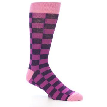 Image of Purple Checkered Men's Dress Socks (side-1-26)
