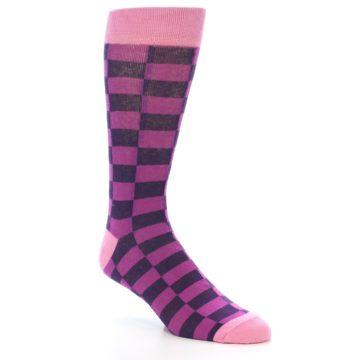 Image of Purple Checkered Men's Dress Socks (side-1-27)