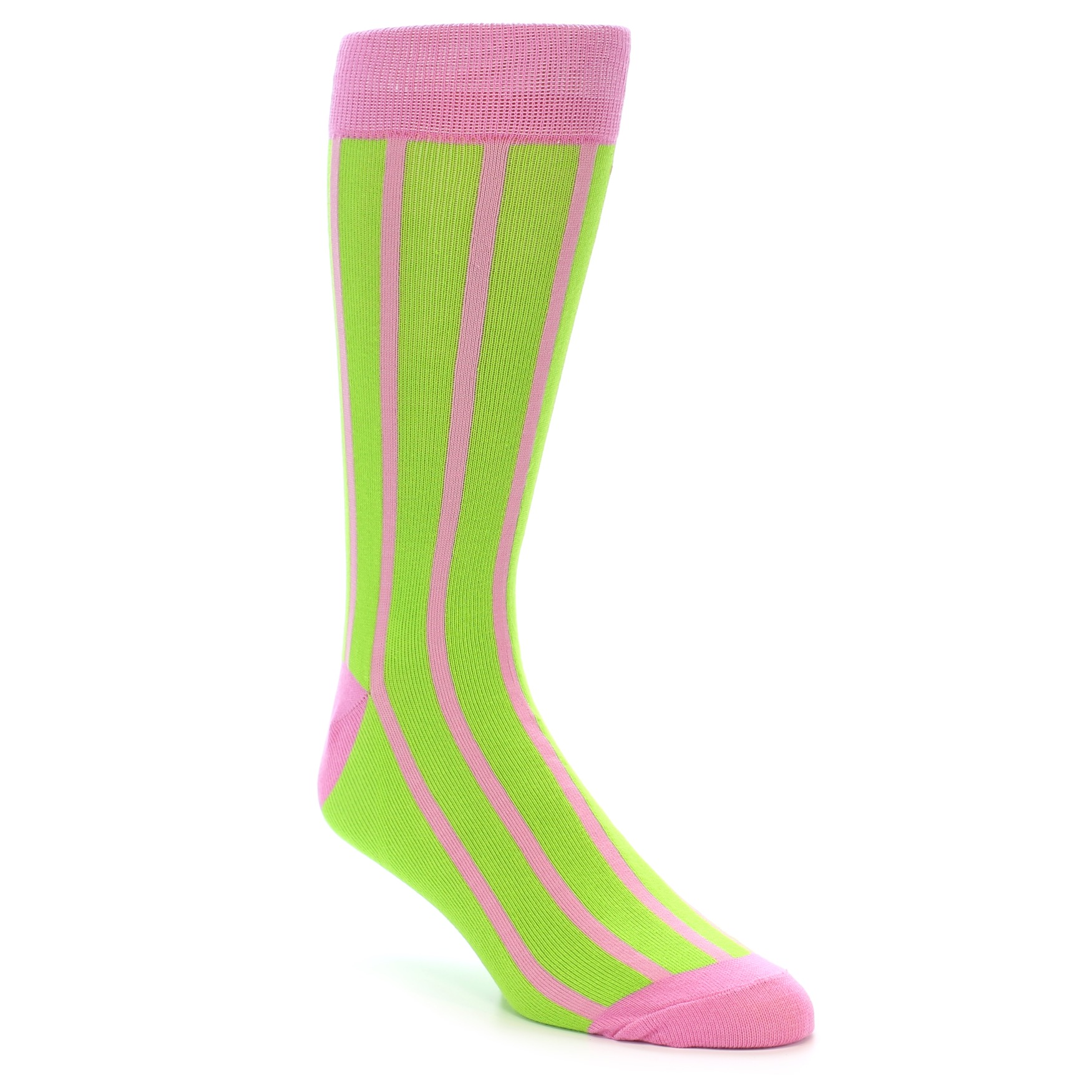 b596f793d4aeb Lime Pink Vertical Stripe Men's Dress Socks | boldSOCKS