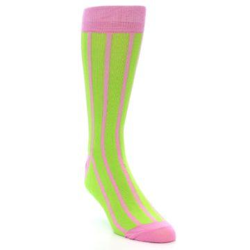 Image of Lime Pink Vertical Stripe Men's Dress Socks (side-1-front-02)