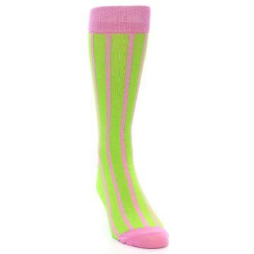 Image of Lime Pink Vertical Stripe Men's Dress Socks (side-1-front-03)