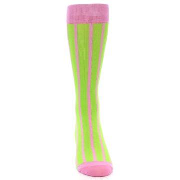 Image of Lime Pink Vertical Stripe Men's Dress Socks (front-04)