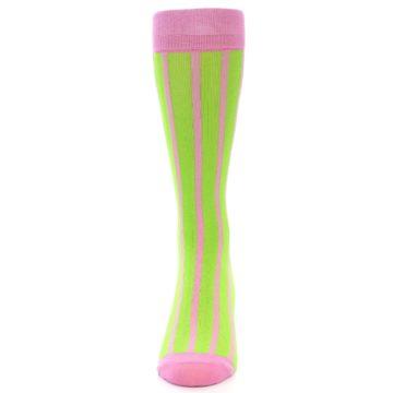 Image of Lime Pink Vertical Stripe Men's Dress Socks (front-05)