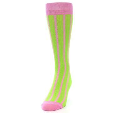 Image of Lime Pink Vertical Stripe Men's Dress Socks (side-2-front-06)