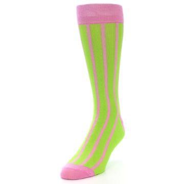 Image of Lime Pink Vertical Stripe Men's Dress Socks (side-2-front-07)