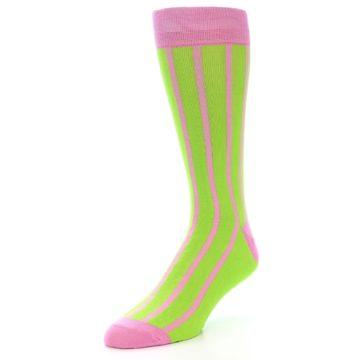 Image of Lime Pink Vertical Stripe Men's Dress Socks (side-2-front-08)