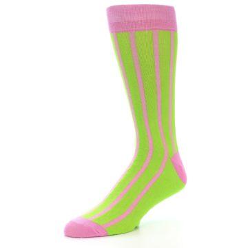 Image of Lime Pink Vertical Stripe Men's Dress Socks (side-2-09)