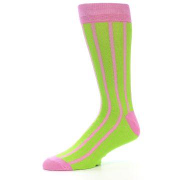 Image of Lime Pink Vertical Stripe Men's Dress Socks (side-2-10)