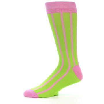 Image of Lime Pink Vertical Stripe Men's Dress Socks (side-2-11)